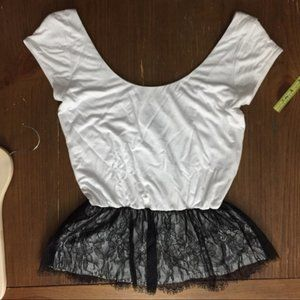 AQUA Black and White Lace Peplum Top